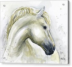 White Horse Watercolor Acrylic Print