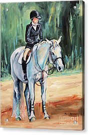 White Horse With Rider  Acrylic Print