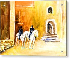 White Horses By The Cathedral In Palma De Mallorca Acrylic Print by Miki De Goodaboom