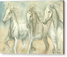White Horses Acrylic Print by Delores Swanson