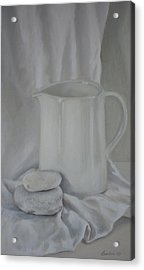 White Jug And Pebbles Acrylic Print