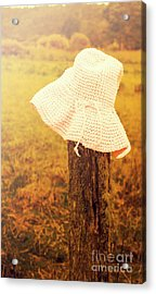 White Knitted Hat On Farm Fence Acrylic Print by Jorgo Photography - Wall Art Gallery