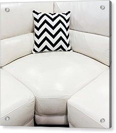 White Leather Sofa With Decorative Cushion Acrylic Print