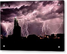 White Lightening Over Elevator Acrylic Print