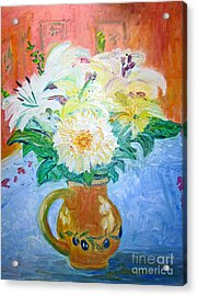 White Lilies In Olive Jug Acrylic Print