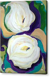 White Lilies In Purple Chiffon With Torquoise Blue Acrylic Print