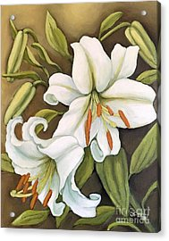 White Lilies Acrylic Print by Inese Poga