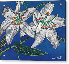 White Lilies Acrylic Print by Valerie Ornstein