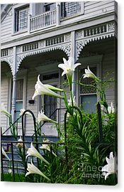 White Lilies With White Detail Acrylic Print