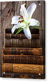 White Lily On Antique Books Acrylic Print by Garry Gay