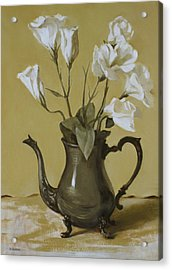 White Lisianthus In Silver Coffeepot Acrylic Print