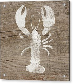 White Lobster On Wood- Art By Linda Woods Acrylic Print