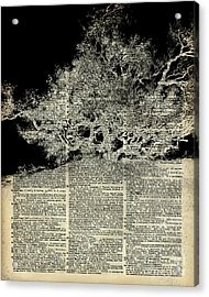White Lonley Tree Dictionary Art Acrylic Print by Jacob Kuch