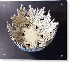 White Maple Leaf Bowl Acrylic Print by Carolyn Coffey Wallace