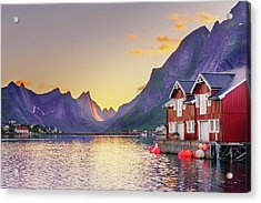 Acrylic Print featuring the photograph White Night In Reine by Dmytro Korol