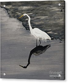 White On Gray Acrylic Print by Carla Dabney
