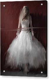 White On Red Acrylic Print by H James Hoff