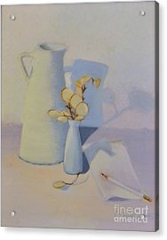 White On White Still Life Acrylic Print by Emily Michaud