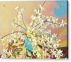 White Orchid Bouquet Pink/blue Acrylic Print