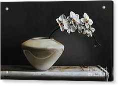 White Orchids  Acrylic Print by Larry Preston