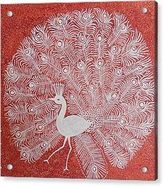 White Peacock Dance- Original Warli Painting Acrylic Print by Aboli Salunkhe