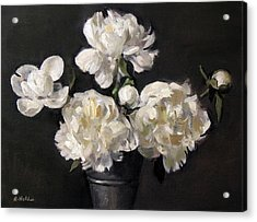 White Peonies Alone Acrylic Print