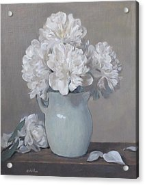 Gray Day For White Peonies Acrylic Print