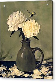 White Peonies In Small Green Pitcher Acrylic Print