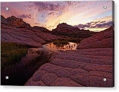 White Pocket Sunset Acrylic Print by Jonathan Davison