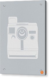 White Polaroid Camera Acrylic Print by Naxart Studio