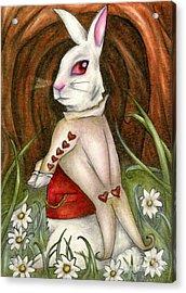 White Rabbit On Way To Wonderland Acrylic Print