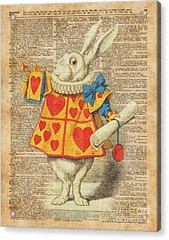 White Rabbit With Trumpet Alice In Wonderland Vintage Dictionary Artwork Acrylic Print