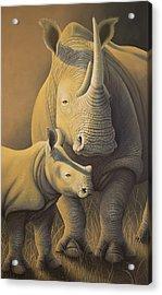 White Rhino Fading Into Extinction Acrylic Print