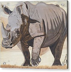 White Rhino On Rustic Wood Acrylic Print by Debbie LaFrance