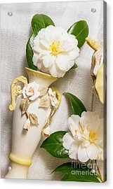 White Rhododendron Funeral Flowers Acrylic Print by Jorgo Photography - Wall Art Gallery