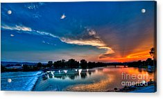 White River Sunset Acrylic Print by Clayton Cavaness