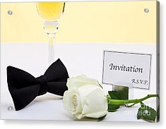 White Rose Bow Tie And Invitation. Acrylic Print by Richard Thomas