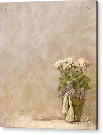 White Roses In Old Clay Pot Acrylic Print
