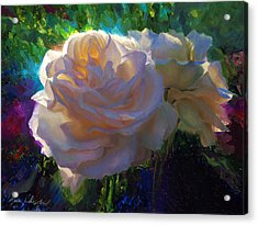 White Roses In The Garden - Backlit Flowers - Summer Rose Acrylic Print
