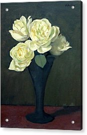Four Off-white Roses In Trumpet Vase Acrylic Print