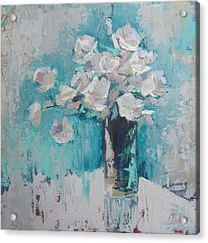 White Roses Palette Knife Acrylic Painting Acrylic Print