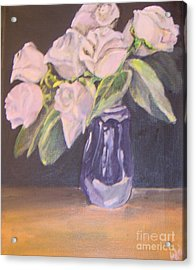 Acrylic Print featuring the painting White Roses by Saundra Johnson