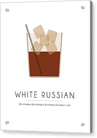 White Russian Classic Cocktail Minimalist Print Acrylic Print