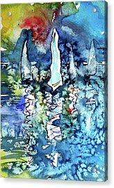 White Sailboats At Sunset Acrylic Print by Kovacs Anna Brigitta