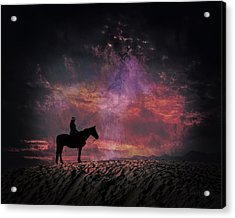White Sands Horse And Rider #4c Acrylic Print
