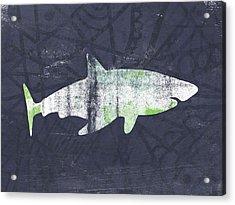 White Shark- Art By Linda Woods Acrylic Print