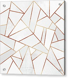 White Stone And Copper Lines Acrylic Print by Elisabeth Fredriksson
