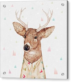 White Tailed Deer Square Acrylic Print by Animal Crew