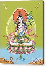 White Tara Acrylic Print by Carmen Mensink