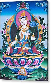 White Tara Thangka Acrylic Print by Tim Gainey